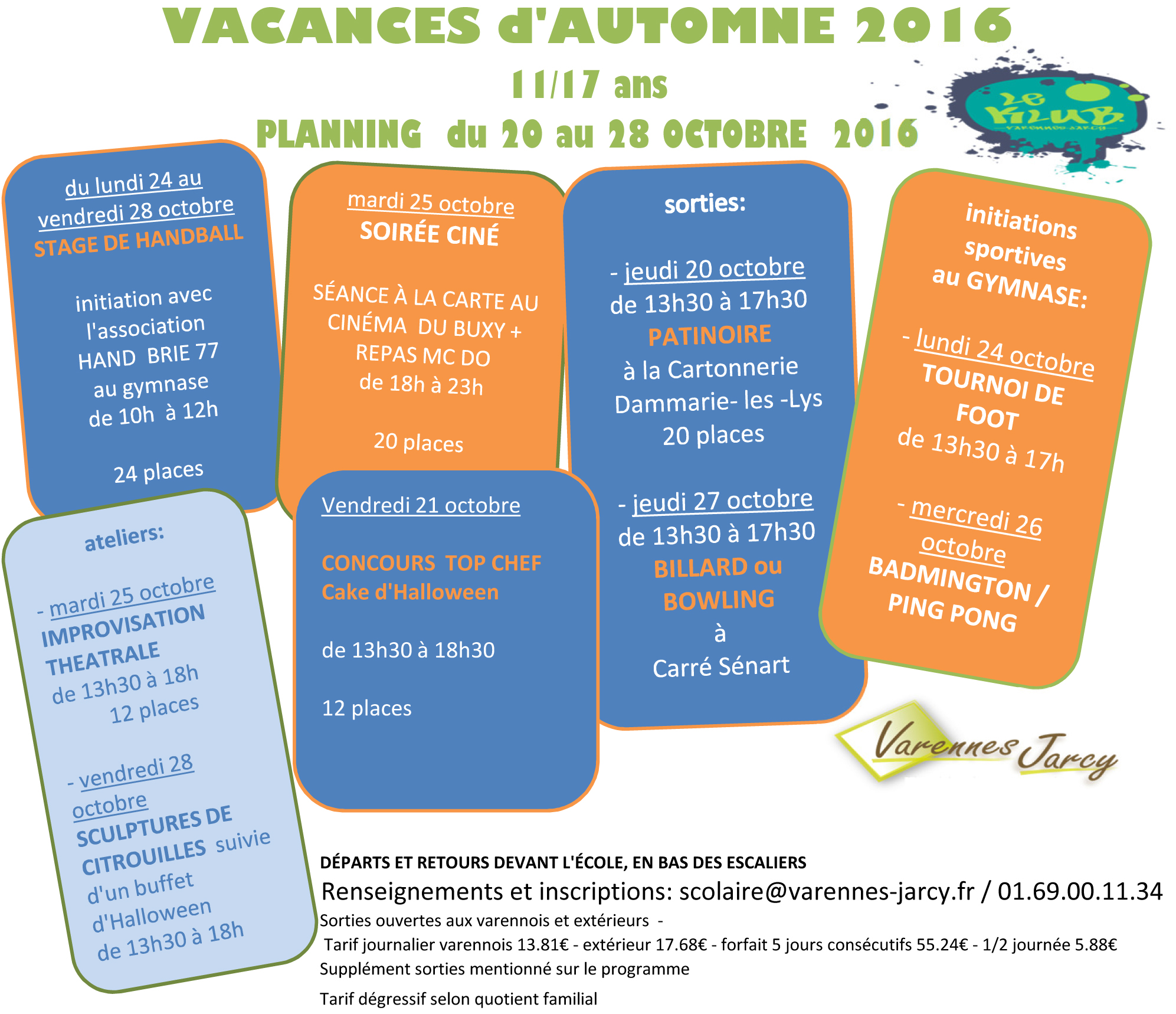 Vacances automne ville de varennes jarcy Vacances automne 2015